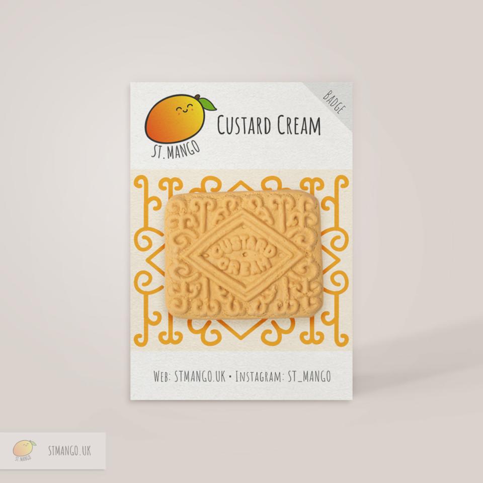 Custard Cream Biscuit Badge