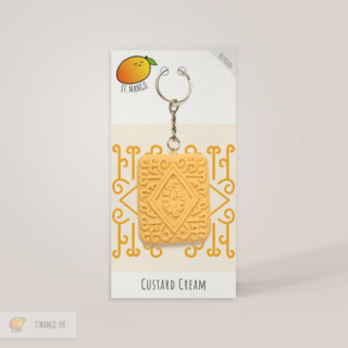 Custard Cream Biscuit Keyring